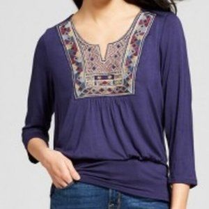 Women's Long Sleeve Embroidered Banded Bottom Top